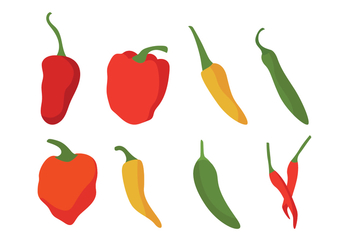 Different Chili Peppers Vector Set - vector gratuit #439335