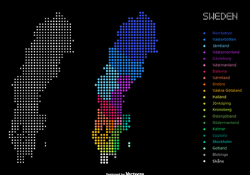 Dotted Color Map Of Administrative Divisions Of Sweden - vector #439385 gratis