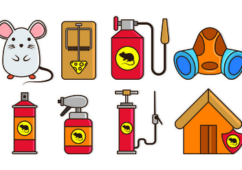 Pest Control and Mouse Trap Icons - vector #439395 gratis