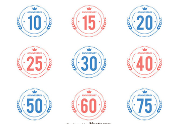 Pink And Blue Anniversary Badge Collection Vectors - Kostenloses vector #439425