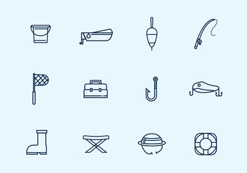 Outline Fishing Icons - vector gratuit #439455