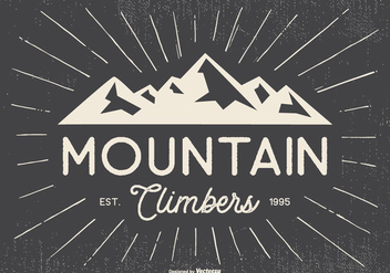 Retro Typographic Mountian Climbers Illustration - Free vector #439475