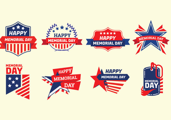 Set of Memorial Day Label Vectors - vector #439495 gratis