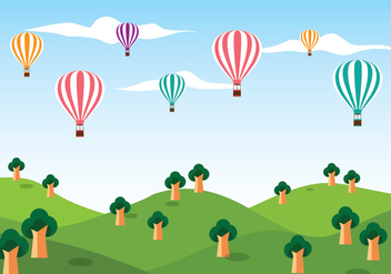 Hot Air Balloon Vector Background - Free vector #439615