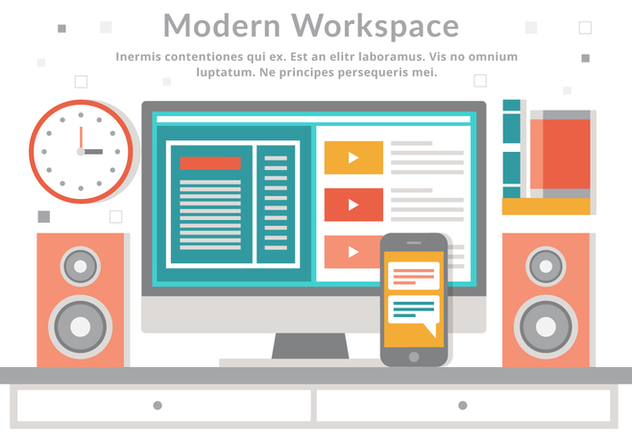 Free Vector Flat Design Modern Workspace - vector gratuit #439655