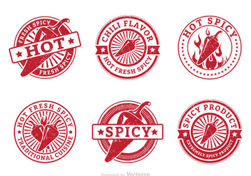Fresh Spicy Hot Pepper Grunge Vector Stamps - Free vector #439765