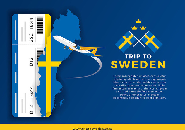 Sweden Map and Trip For Ticket Vector - Free vector #439795