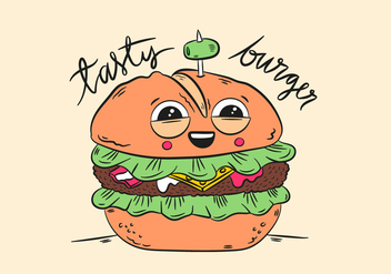 Cute Character Burger Smiling With Quote - Free vector #439865