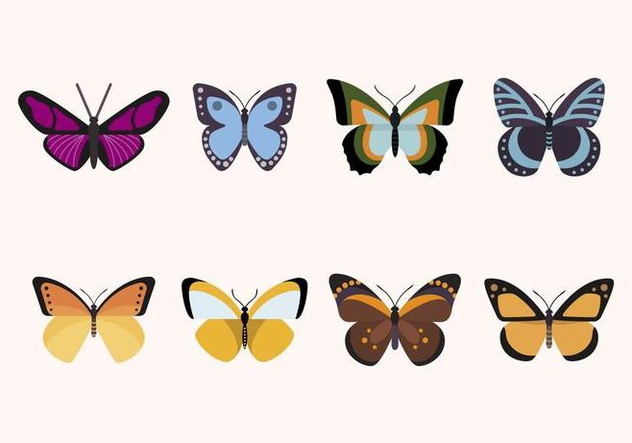 Flat Butterfly Vectors - Free vector #439875