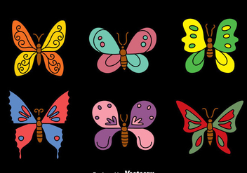 Butterfly Collection on Black Vectors - Kostenloses vector #439935