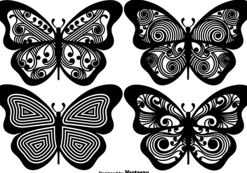 Vector Ornamented Butterfly Silhouettes - Kostenloses vector #440065