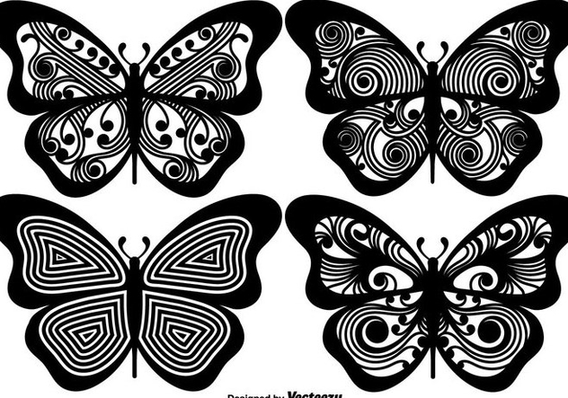 Vector Ornamented Butterfly Silhouettes - Free vector #440065