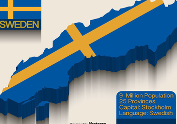 Vector Sweden Flag On 3d Map - бесплатный vector #440085