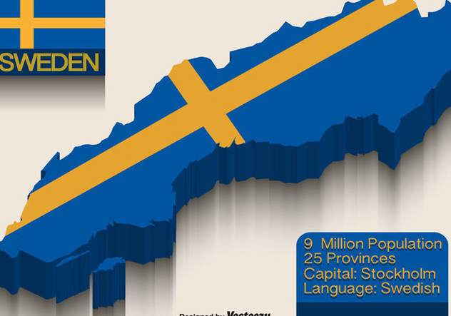Vector Sweden Flag On 3d Map - Free vector #440085