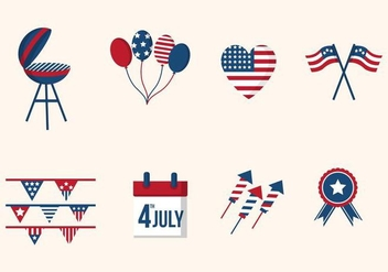 Flat USA Independence Day Vectors - Free vector #440095