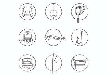 Thin Line Fishing Equipment Icons - vector #440145 gratis