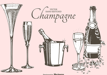Fizz Champagne Flutes, Bottles And Bucket Vector Illustration - Free vector #440185