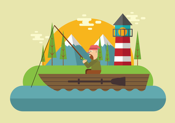 Fishing On The Lake Vector - Free vector #440195