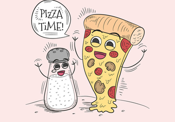 Funny Pizza And Salt Character for Pizza Time - бесплатный vector #440315