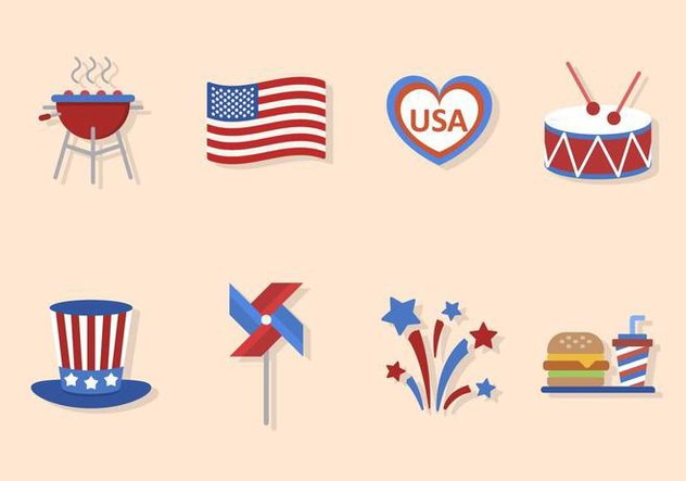 Flat Usa Independence Day Vectors - Free vector #440335