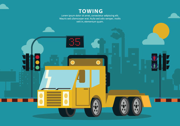 Towing City Mechanic Service Vector Background Illustration - vector #440455 gratis