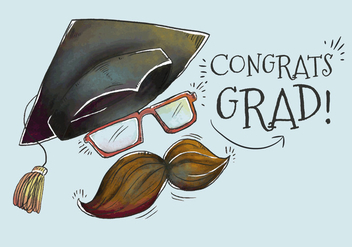 Cute Grad Hat With Mustache for Graduation Season Vector - бесплатный vector #440475