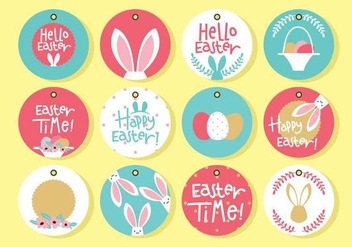 Circle Easter Gift Tag - vector gratuit #440565