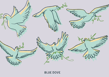 White Blue Dove Paloma Doodle Illustration Vector - Free vector #440575