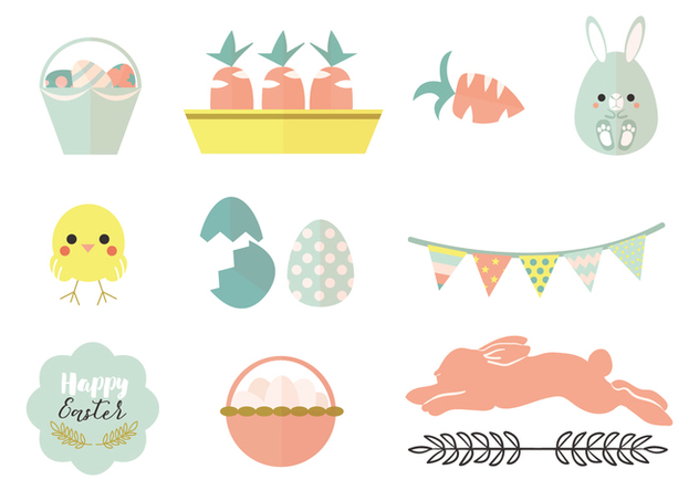 Pastel Easter Vector Pack - Free vector #440655