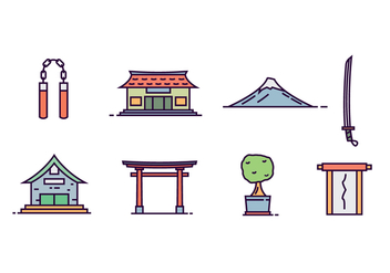 Japanese Culture Objects - vector gratuit #440695