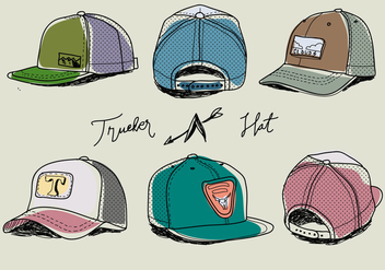 Hand Drawn Colorful Trucker Hat Vector Illustration - Free vector #440705