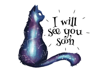 Galaxy With Cat Silhouette And Quote - vector gratuit #440725