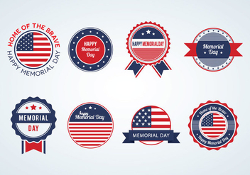 Memorial Day Badges Vector - бесплатный vector #440885