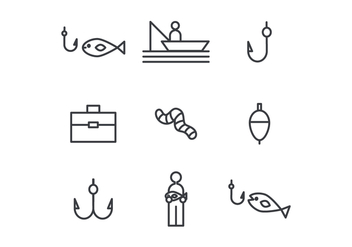 Fishing Outlined Icons - vector gratuit #440895