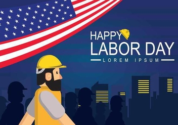 Free Labor Day Banner Illustration - vector gratuit #440905