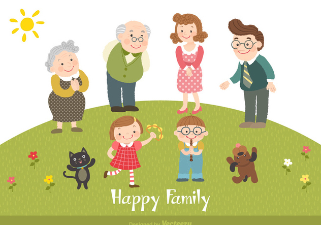 Happy Family Cartoon Vector Illustration - Free vector #440925