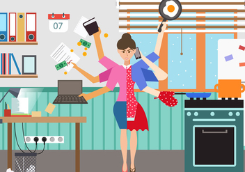 Woman In Multitasking Situation - vector gratuit #441025