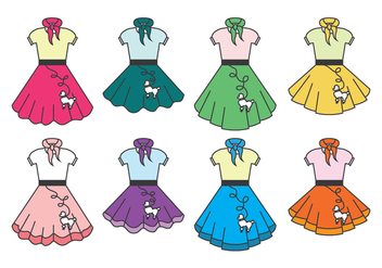 Poodle Skirt Collection - vector #441035 gratis