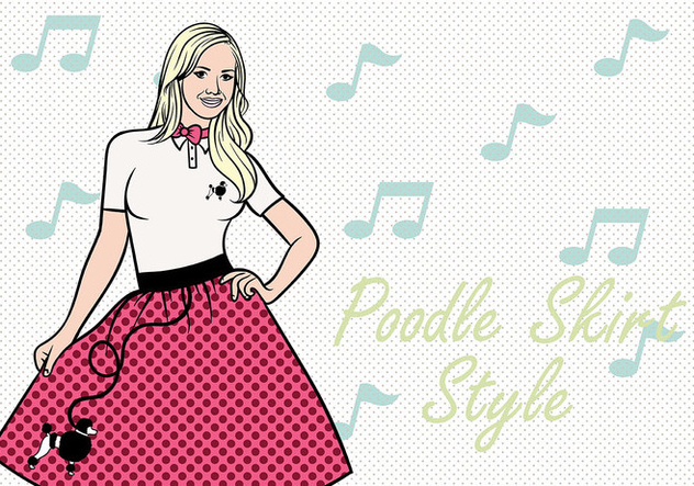 50s Poodle Skirt Vector Background - Free vector #441065