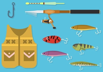 Flat Fishing Element Vectors - Kostenloses vector #441175
