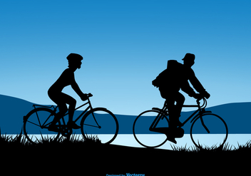 Silhouette Design Of A Couple Riding Bicycles - vector gratuit #441225