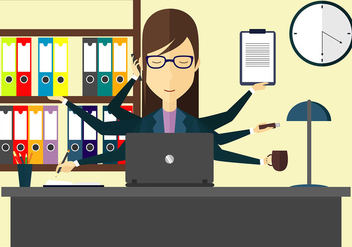 Multi Tasking Woman Illustration Free Vector - Free vector #441415