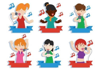 People singing vector illustration set - vector gratuit #441575