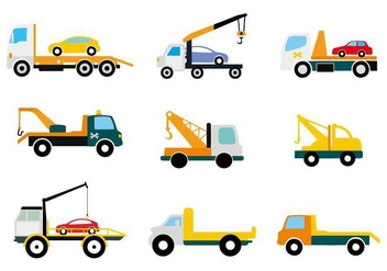 Free Flat Truck Tow Icons Vector - Free vector #441625