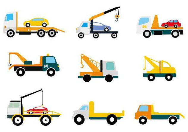 Free Flat Truck Tow Icons Vector - бесплатный vector #441625