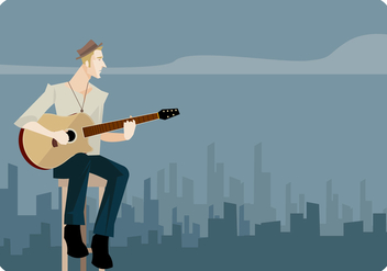 Young Man Singing And Playing Guitar Vector - Kostenloses vector #441795