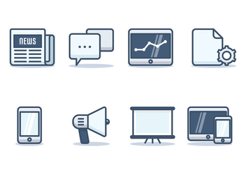 Press Release Icon Set - бесплатный vector #441855