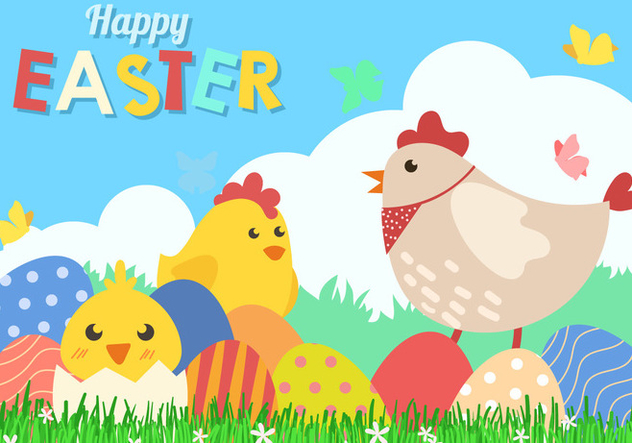 Fun Happy Easter Background Vector - Free vector #441955