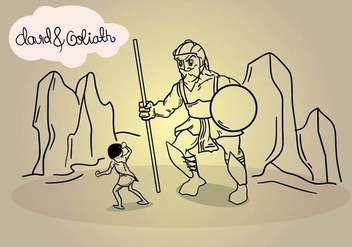 David And Goliath Line Art Illustration - Free vector #442025