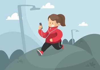 Runner in Windbreaker Illustration - Free vector #442055